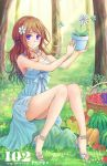 1girl blue_eyes brown_hair dress flower flower_pot food fruit hair_flower hair_ornament high_heels highres legs long_hair nature open_shoes plant potted_plant sandals shoes sitting smile solo suikakitsu_shiro tomato tree watermelon