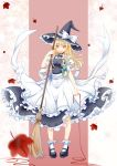 1girl apron blonde_hair blurry bobby_socks bow bowtie broom frills full_body hat hat_bow high_heels huayue kirisame_marisa leaf long_hair maple_leaf red_string shoes skirt skirt_set socks solo standing string touhou vest waist_apron white_legwear witch witch_hat