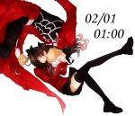 1boy 1girl archer black_hair black_legwear fate/stay_night fate_(series) hair_ribbon long_hair oekaki-daisuki-dessu ribbon thigh-highs tohsaka_rin toosaka_rin two_side_up white_hair