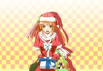 1girl absurdres breasts checkered checkered_background gift hat highres kyaro_(kyaro54) long_hair open_mouth orange_eyes orange_hair santa_hat smile solo star