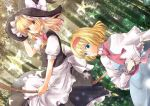 2girls alice_margatroid apron blonde_hair blue_eyes blush book bow braid broom capelet dress forest hair_bow hairband hat kirisame_marisa long_hair miruniru multiple_girls nature open_mouth ribbon sash short_hair skirt smile star touhou tree witch_hat yellow_eyes