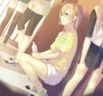 4girls black_legwear blue_eyes blurry bottle brown_hair depth_of_field kousaka_honoka la-na love_live!_school_idol_project multiple_girls off_shoulder profile shoes short_hair shorts smile sneakers squatting thigh-highs water_bottle