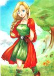 1girl arms_behind_back belt bianca blonde_hair blue_eyes braid breasts cape dragon_quest dragon_quest_v dress earrings green_dress jewelry leg_warmers lipstick long_hair low-tied_long_hair makeup marker_(medium) neck_ring single_braid smile solo traditional_media tree you_kazuna