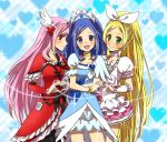 3girls black_legwear blonde_hair blue_background blue_eyes blue_hair bow brooch choker cure_diamond cure_passion cure_rhythm dokidoki!_precure dress fresh_precure! frills green_eyes hair_ribbon hairband head_wings heart heart_background heart_hands heart_hands_duo heart_of_string higashi_setsuna hishikawa_rikka jewelry long_hair minamino_kanade multiple_girls noah_0628 pantyhose pink_hair precure red_dress red_eyes ribbon skirt smile suite_precure tiara