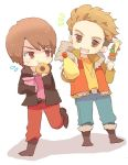 2boys bag brown_eyes brown_hair doughnut eating jewelry kamen_rider kamen_rider_wizard_(series) kebab male mayonnaise mofuko multicolored_hair multiple_boys necklace nitou_kousuke open_mouth smile souma_haruto
