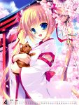 1girl 2013 absurdres ahoge blonde_hair blue_eyes blush calendar cat cherry_blossoms clouds flower happy highres hug japanese_clothes kimono long_hair mikeou sky twintails
