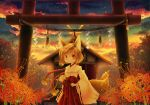 animal_ears ascendancy flower fox_ears japanese_clothes miko original shide shimenawa shrine sunset torii