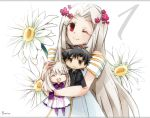 1boy 2girls :3 artist_name black_hair boru-boru chibi countdown daisy dress emiya_kiritsugu family fate/zero fate_(series) flower illyasviel_von_einzbern irisviel_von_einzbern long_hair multiple_girls red_eyes signature white_hair wink