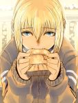 blonde_hair blue_eyes bread bread_in_mouth donarudo fangs food kon_futaba solo soredemo_machi_wa_mawatteiru sweatdrop