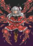 1girl belt black_legwear boots capelet full_body graphite_(medium) long_hair multiple_wings nu_ma pantyhose pullover purple_background red_eyes shinki side_ponytail silver_hair solo touhou traditional_media turtleneck wings