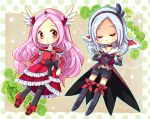 1girl black_gloves black_legwear blush bow choker closed_eyes clover cure_passion dress dual_persona eas elbow_gloves fresh_precure! frills gloves hairband head_wings heart higashi_setsuna hiyopuko long_hair magical_girl pantyhose pink_hair precure red_dress red_eyes ribbon shoes short_hair shorts smile thigh-highs tiara white_hair