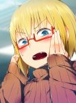 blonde_hair blue_eyes blush donarudo glasses kon_futaba red-framed_glasses ribbed_sweater solo soredemo_machi_wa_mawatteiru sweatdrop sweater