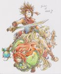 1girl 2boys androgynous bare_shoulders blonde_hair blue_eyes brown_hair capelet facepaint feathers green_eyes hair_feathers headband kui_(morikui) long_hair marker_(medium) multiple_boys pointy_ears ponytail popoie purim randi redhead seiken_densetsu seiken_densetsu_2 smile spiky_hair staff sword traditional_media tunic vambraces weapon