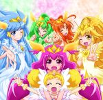 6+girls :d ;d ^_^ aoki_reika blonde_hair blush blush_stickers bow candy_(smile_precure!) choker closed_eyes cure_beauty cure_happy cure_march cure_peace cure_sunny double_bun dress earrings hair_tubes head_wings hino_akane hoshizora_miyuki jewelry kise_yayoi magical_girl midorikawa_nao multiple_girls nokokopopo open_mouth ponytail precure ring royal_candy smile smile_precure! tiara tri_tails twintails v wink wrist_cuffs