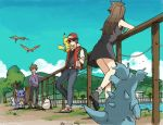 1girl 2boys bare_legs black_hair blue_(pokemon) blue_(pokemon)_(classic) fingerless_gloves gloves hiyokko_ep multiple_boys nidorina ookido_green ookido_green_(classic) perspective pikachu pokemon pokemon_(game) pokemon_rgby red_(pokemon) red_(pokemon)_(classic) river tree wartortle