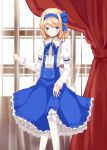 1girl alice_margatroid alice_margatroid_(young) blonde_hair blue_eyes blush bow cross curtains hair_bow hair_ornament hair_ribbon hairband nanatuki13 pantyhose ribbon short_hair skirt solo suspenders touhou white_legwear window