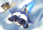 2girls airplane alternate_color blonde_hair blue_hair broom broom_riding hair_tubes hakurei_reimu hat helmet japanese_clothes jet kimono kirby_(series) kirisame_marisa mochizuki_ado multiple_girls open_mouth player_2 smile touhou yukkuri_shiteitte_ne
