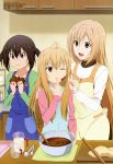 3girls absurdres apron blonde_hair brown_hair chocolate highres long_hair megami minami-ke minami_chiaki minami_haruka minami_kana multiple_girls official_art open_mouth siblings sisters valentine very_long_hair wink