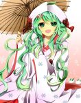 1girl green_eyes green_hair hair_ornament hatsune_miku japanese_clothes kimono leaf open_mouth oriental_umbrella ringoro snow_bunny solo uchikake umbrella vocaloid yuki_miku