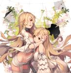 2girls bare_shoulders blonde_hair breasts broken_glass collar dress glass hair_over_one_eye hug kkuem leaf long_hair looking_at_viewer multiple_girls original parted_lips red_eyes smile thigh-highs watermark web_address white_dress white_legwear