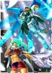 1girl breasts crescens emeralda_kasim expressionless green_hair highres long_hair mecha midriff navel skirt under_boob urara_(urara-nya) violet_eyes xenogears