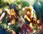 1girl 2boys androgynous bare_shoulders blonde_hair breasts brown_hair capri_pants cleavage death_(entity) earrings feathers forest ghost green_eyes grim_reaper hair_feathers headband highres hoop_earrings jewelry long_hair montebla multiple_boys nature pointy_ears polearm ponytail popoie purim randi seiken_densetsu seiken_densetsu_2 short_sword sword tears trident vambraces vertical_stripes weapon