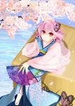 1girl butterfly butterfly_on_head cherry_blossoms geta grass highres iwasaki_yuu japanese_clothes kimono light_smile looking_at_viewer no_hat no_headwear obi pink_hair red_eyes saigyouji_yuyuko shawl short_hair sitting solo tabi touhou water wide_sleeves