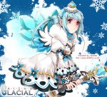 1girl aisha_(elsword) alternate_color alternate_costume blue blue_background blue_hair character_name crown drakmint dress elsword ice ice_wings juliet_sleeves long_hair long_sleeves puffy_sleeves snow solo twintails violet_eyes wand watermark web_address wings wrist_cuffs
