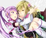 blonde_hair brown_eyes detached_sleeves flower gloves maruishi purple_hair richard_(tales_of_graces) sophie_(tales_of_graces) tales_of_(series) tales_of_graces twintails violet_eyes