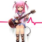1girl angel_beats! guitar instrument long_hair mofun school_uniform serafuku sitting smile twintails two_side_up yui_(angel_beats!)