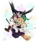 2girls apron bird_wings black_wings blonde_hair boots bow braid broom broom_riding brown_hair flying hair_bow hand_on_hat hat hat_bow headwear_switch highres kirisame_marisa long_hair looking_at_viewer multiple_girls open_mouth red_eyes reiuji_utsuho shirt short_sleeves skirt skirt_set smile star third_eye touhou toutenkou waist_apron wings witch_hat yellow_eyes