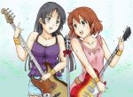 2girls akiyama_mio bass_guitar black_eyes black_hair blush bow brown_eyes brown_hair denim dress flying_sweatdrops frilled_sleeves frills guitar hair_ornament hime_cut hirasawa_yui instrument k-on! long_hair microphone microphone_stand multiple_girls open_mouth pink_dress ribbon singing sweat tank_top wristband yrk_yuriko