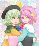 2girls blush green_eyes green_hair hairband hat hat_ribbon heart hug komeiji_koishi komeiji_satori long_hair long_sleeves ma_nyan_(nyao_mao_nyao) multiple_girls open_mouth pink_eyes pink_hair ribbon short_hair siblings silver_hair sisters skirt smile stained_glass third_eye touhou