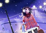 1girl art_jam bag black_hair blue_eyes blush coat gloves long_hair night night_sky open_mouth original pantyhose ship shopping_bag short_hair sky snow solo