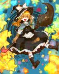 1girl arm_warmers blonde_hair blush boots braid broom hat kirisame_marisa long_hair open_mouth ribbon ringetsumon skirt smile solo star touhou witch_hat yellow_eyes
