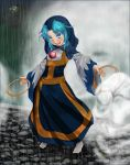 1girl blue_eyes blue_hair clenched_hand colored_eyelashes date8619 full_body holding hood jewelry kesa kumoi_ichirin long_hair long_sleeves necklace open_mouth pendant rain socks standing touhou ufo unzan wet wide_sleeves