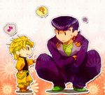 2boys ? blonde_hair chibi dio_brando fang gakuran gedoooo headband heart higashikata_jousuke jojo_no_kimyou_na_bouken multiple_boys musical_note pompadour purple_hair red_eyes school_uniform spoken_musical_note spoken_sweatdrop squatting sweatdrop