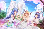 3girls alternate_costume alternate_headwear bare_shoulders belt blue_hair blue_sky bouquet bow breasts bride bridge bush castle cherry_blossoms cleavage clouds collarbone cup dress east_asian_architecture elbow_gloves flower food fruit gloves grass hair_bow hair_ribbon hand_on_own_chest headband hinanawi_tenshi horn_ribbon horns ibuki_suika leaf light_smile long_hair looking_at_viewer multiple_girls nagae_iku off_shoulder open_mouth peach pillar red_eyes ribbon rose ruins short_hair short_sleeves shuizao_(little_child) sky skybridge sleeveless torii touhou tree veil wedding_dress white_dress wine_glass wrist_cuffs