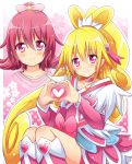 1girl aida_mana blonde_hair boots bow choker cure_heart curly_hair dokidoki!_precure dual_persona earrings flipped_hair hair_ornament hairpin half_updo heart heart_hands jewelry long_hair magical_girl pink pink_background pink_eyes pink_hair ponytail precure ribbon shinekalta short_hair skirt smile