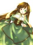 1girl brown_hair dress dutch_angle green_eyes heterochromia long_hair nicholas_keiji open_mouth red_eyes rozen_maiden solo suiseiseki