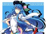 1girl adapted_costume blue_hair china_dress chinese_clothes clothed_navel food fruit gloves hand_on_hip hat hinanawi_tenshi leaf long_hair peach red_eyes rough smile solo sword_of_hisou touhou touya_(the-moon) white_gloves wink