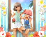 2boys blue_eyes brown_eyes brown_hair denim denim_shorts flower hair_flower hair_ornament hibiscus inazuma_eleven_(series) inazuma_eleven_go kirino_ranmaru long_hair male mizuhara_aki multiple_boys open_mouth pink_hair shindou_takuto short_shorts shorts smile tan tank_top trap twintails