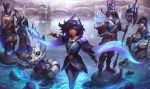 animal_ears armor black_hair blue_eyes blue_feathers blue_hair blush boomerang boots brown_eyes cape closed_mouth dark_skin ezreal facial_hair facial_mark fangs feathers fingerless_gloves full_body gloves gnar_(league_of_legends) hair_ornament hair_over_one_eye hand_holding hat helmet hood jarvan_lightshield_iv jewelry lake league_of_legends leather legs_crossed long_hair looking_at_viewer manly multiple_boys multiple_girls muscle official_art rakan reflection samsung_galaxy_(league_of_legends) scar scenery shiny shirtless short_hair sitting smile stone taliyah thick_eyebrows weapon white_hair xayah yordle