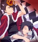 2boys black_hair cape checkered closed_eyes crown dual_persona fullmetal_alchemist greed grin hair_over_one_eye homunculus ling_yao male multiple_boys ponytail red_eyes smile