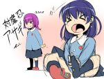 >_< 2girls blue_hair blush_stickers character_request crying evil_grin evil_smile grin hiding kindergarten_uniform long_hair multiple_girls open_mouth prank purple_hair red_eyes shindou_l shoes_removed short_ponytail skirt smile socks thumbtack translation_request