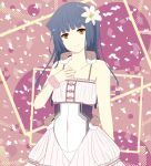 1girl bare_shoulders black_hair dress flower hair_flower hair_ornament honda_masazumi kyoukai_senjou_no_horizon long_hair mizuki_miyu smile solo wristband yellow_eyes