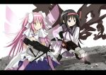 2girls akemi_homura black_hair bow female goddess_madoka gun hair_bow hair_ribbon kamen_rider kamen_rider_555 kamen_rider_dcd kaname_madoka long_hair machine_gun magical_girl mahou_shoujo_madoka_magica multiple_girls pantyhose parody pink_hair ribbon short_twintails spoilers twintails u_u_(mooooooou) violet_eyes weapon wings yellow_eyes