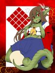 1girl breasts brown_hair dragon_girl dragon_tail egg fang green_skin hair_ornament hairclip jacket kneeling long_hair midriff monster_girl off_shoulder original pointy_ears red_eyes red_jacket ryuujin_no_senpai scales school_uniform serafuku shindou_l socks solo steepled_fingers surprised tail