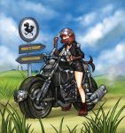 1girl black_hair blue_sky boots chocobo field final_fantasy final_fantasy_vii fingerless_gloves gloves helmet highres leather_jacket long_hair low-tied_long_hair mario_grant miniskirt motor_vehicle motorcycle motorcycle_helmet red_eyes signpost skirt sky solo tank_top tifa_lockhart vehicle