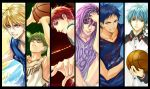 6+boys akashi_seijuurou aomine_daiki basketball basketball_uniform blonde_hair blue_eyes blue_hair column_lineup dark_skin glasses green_eyes green_hair kaga kise_ryouta kuroko_no_basuke kuroko_tetsuya midorima_shinsuke midorima_shintarou multiple_boys murasakibara_atsushi purple_hair red_eyes redhead signature sportswear violet_eyes yellow_eyes